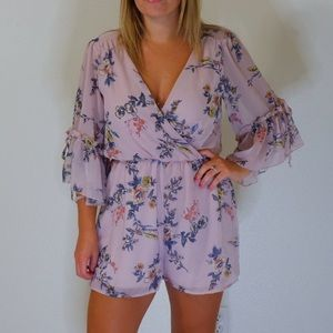 Bailey blue pink floral romper